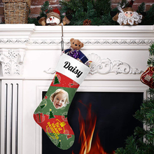 Custom Photo Christmas Stocking Best Grand Daughter With Your Text - MyPhotoSocks