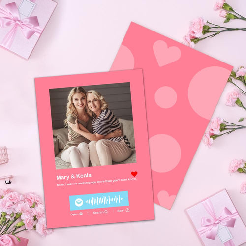 Mother's Day Card - Custom Spotify Code Plaque Photo Gift Card