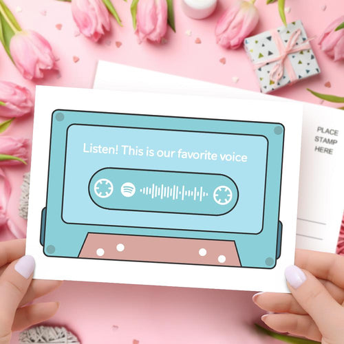 Mother's Day Card - Custom Spotify Code 80s Decal Cassette Tape Card