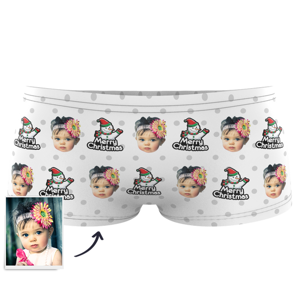 Custom Kids Christmas Snowman Face Boxer - MyPhotoSocks