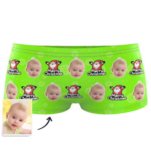 Custom Kids Christmas Santa Claus Face Boxer - MyPhotoSocks