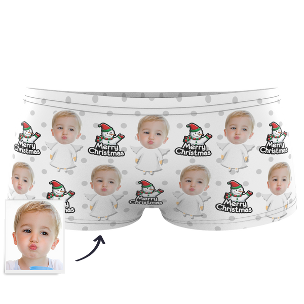 Custom Kids Christmas Angel Face Boxer - MyPhotoSocks