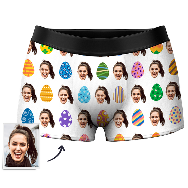 Custom Face Boxer Shorts Men's Color Easter Egg - MyPhotoSocks