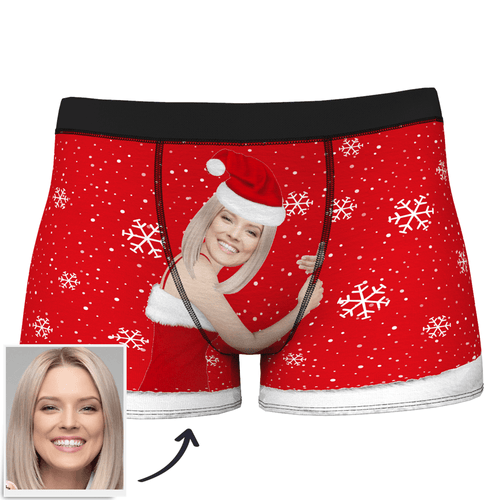 Custom Photo Men's Christmas Face On Body Boxers - MyPhotoSocks