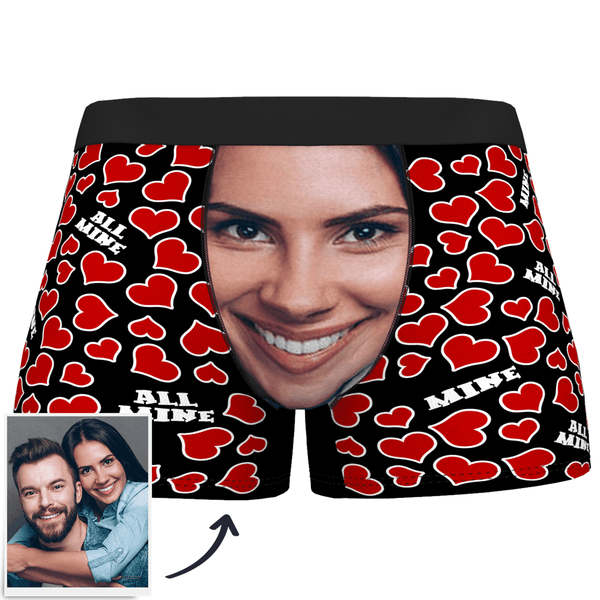 Custom Face Boxer Shorts All Mine Heart - MyPhotoSocks
