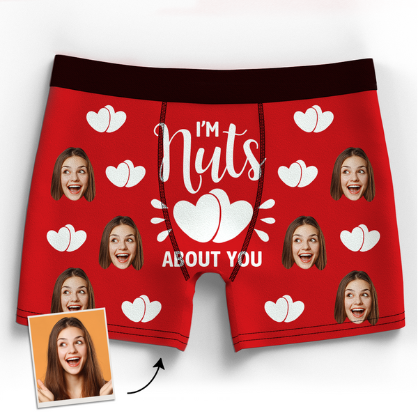 Valentine's Gift Custom Boxer Shorts - I'm Nuts About You