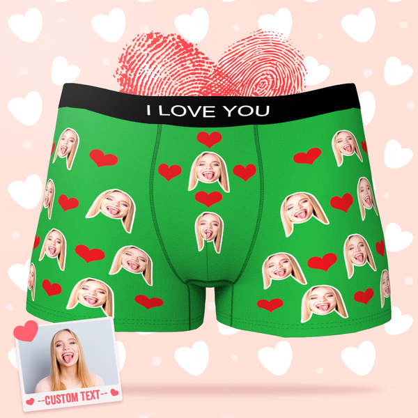 Custom Men's Face Heart Boxers Briefs - Online Preview