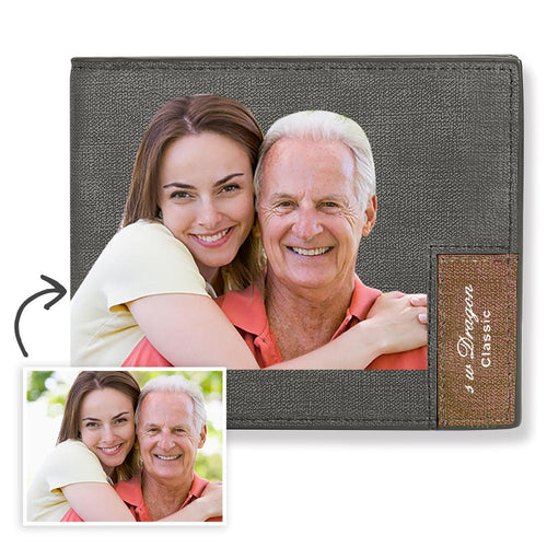 Short Custom Photo Wallet Grey Color Printing - MyPhotoSocks