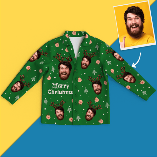 Custom Face Christmas Pajamas - Elk