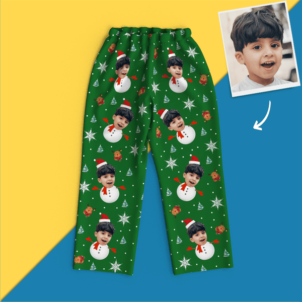 Custom Face Christmas Pajamas - Snow Man