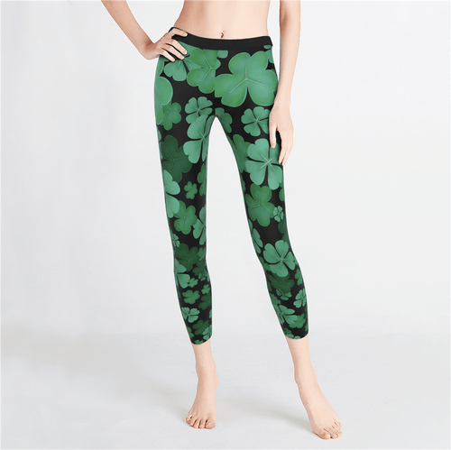 St. Patrick's Day Clover Leggings - MyPhotoSocks