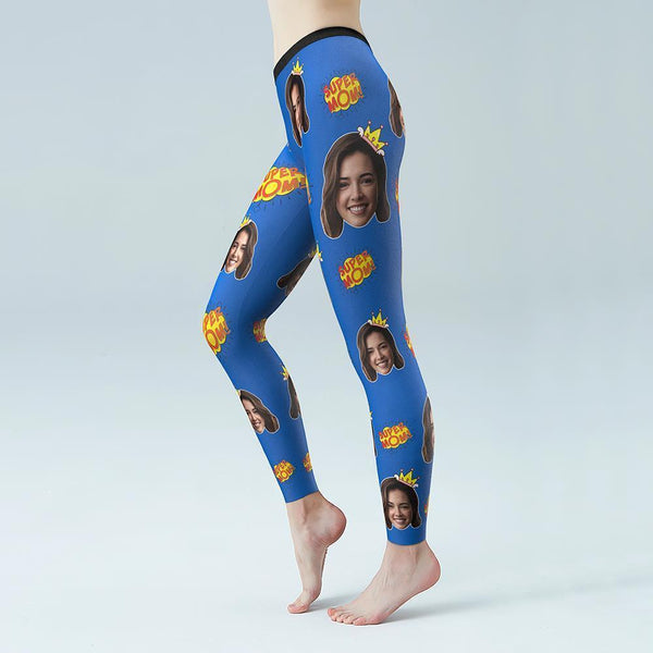 Custom Face Solid Color Yoga Leggings-SUPER MOM