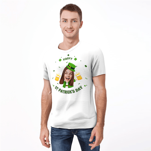 Custom Photo Happy St. Patrick's Day Man T-shirt - MyPhotoSocks
