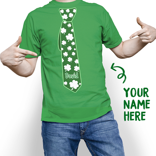 Custom Tie Of Shamrock St. Patrick's Day Funny Name T-shirt - MyPhotoSocks