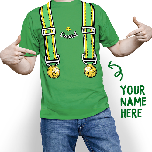 Custom Overalls Of Shamrock St. Patrick's Day Funny Name T-shirt - MyPhotoSocks