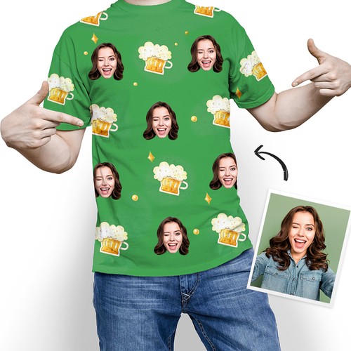 Custom Photo St. Patrick's Day Beer T-shirt - MyPhotoSocks