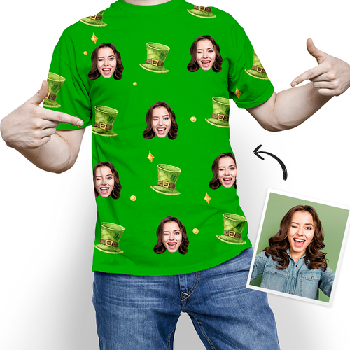 Custom Photo Happy St. Patrick's Day Good Lucky T-shirt - MyPhotoSocks