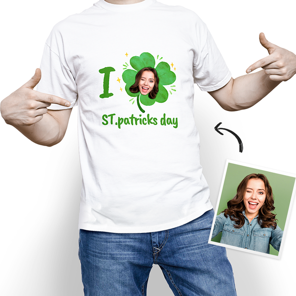 Custom Photo I Love St. Patrick's Day T-shirt - MyPhotoSocks