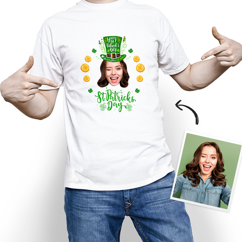 Custom Photo Happy St. Patrick's Day Lucky T-shirt - MyPhotoSocks