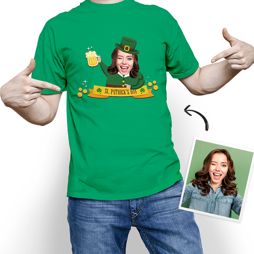 Custom Photo Happy St. Patrick's Day T-shirt - MyPhotoSocks