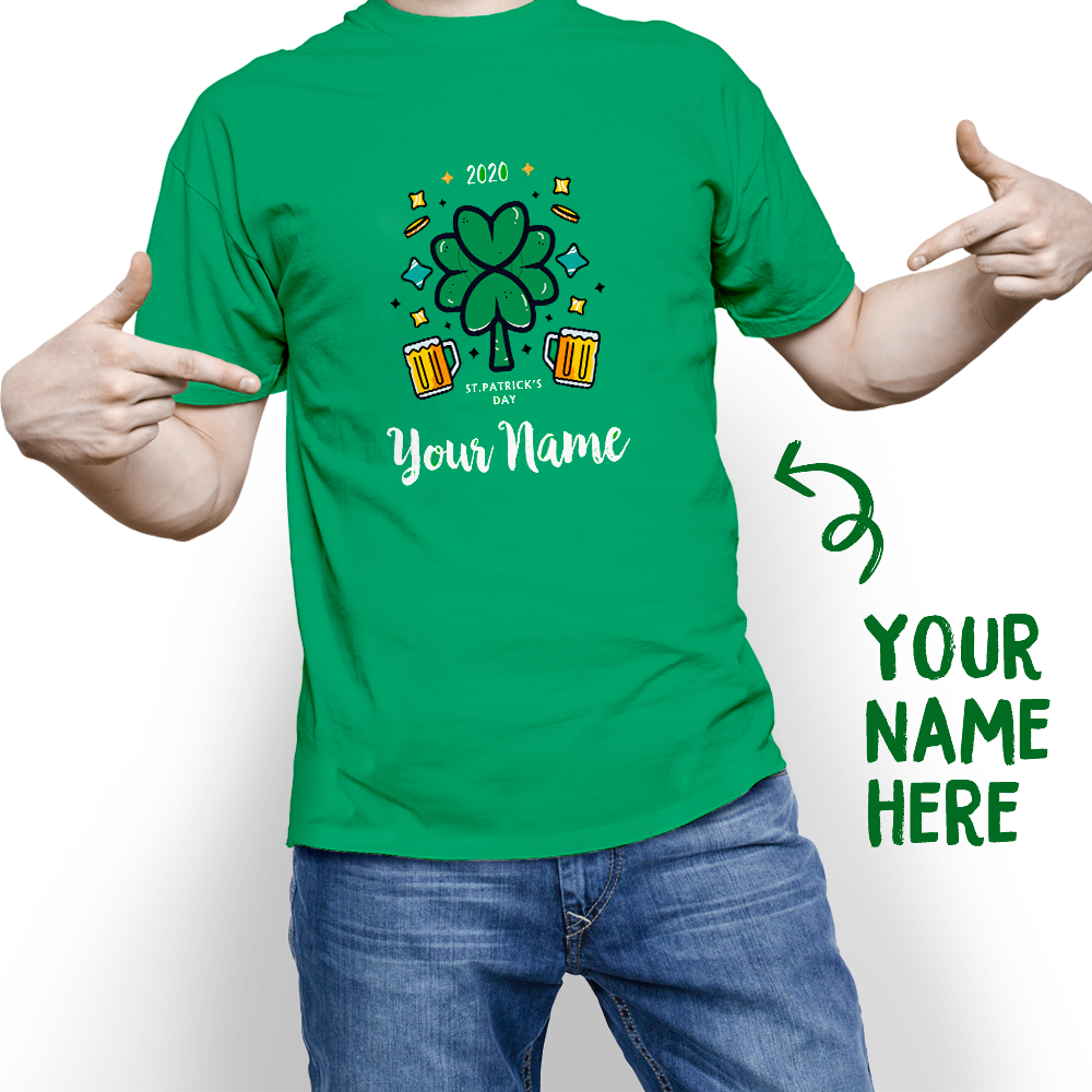 Custom St. Patrick's Day Lucky 2020 With Your Name T-shirt - MyPhotoSocks