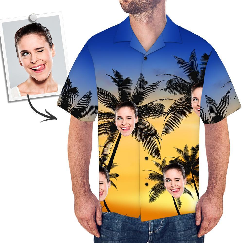 Custom Face All Over Print Hawaiian Shirt Coconut Trees - facesocks