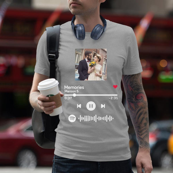 Custom Scannable Spotify Code Album Cover T-Shirt Grey