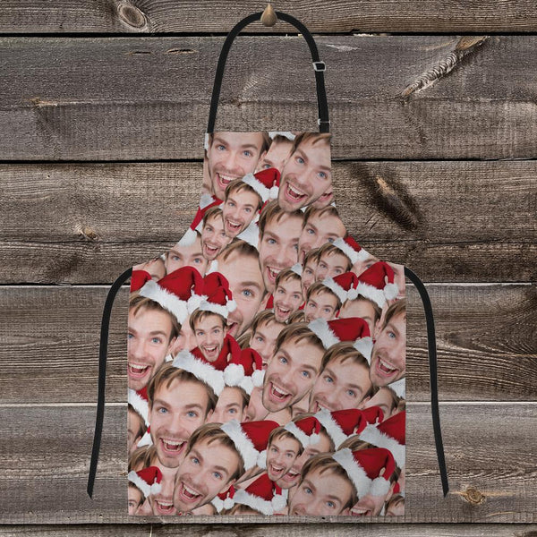 Custom Face Mash Apron-Santa Hat