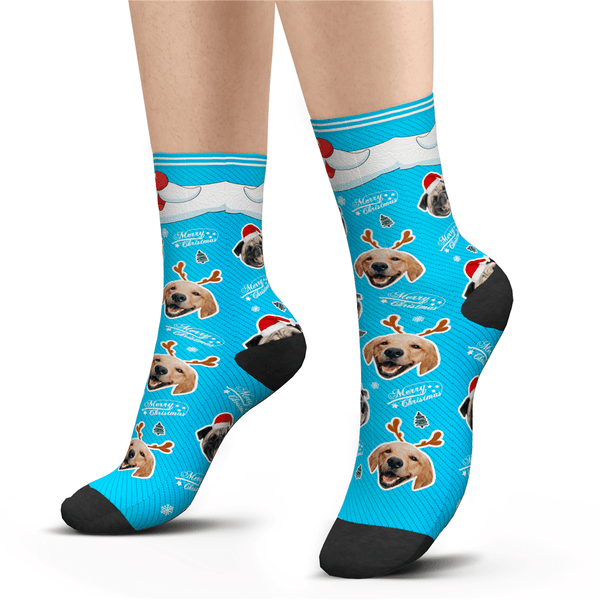 Custom Photo Socks Merry Christmas Dog With Your Text - MyPhotoSocks