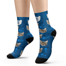 Custom Cat Photo Socks With Your Text - MyPhotoSocks