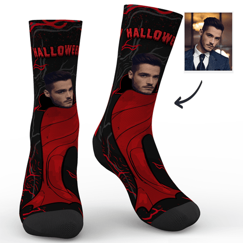 Custom Halloween Vampire Mr Photo Socks - MyPhotoSocks