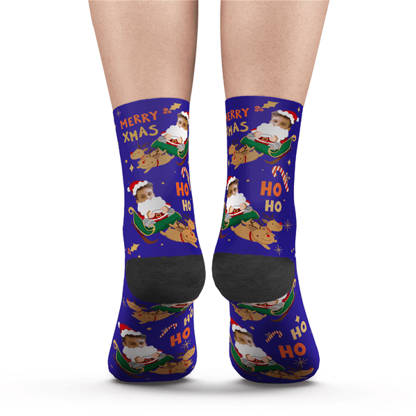 Custom Photo Socks Santa Claus Sled Socks With Your Text - MyPhotoSocks