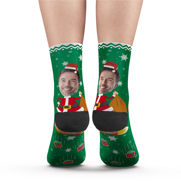 Custom Photo Socks Funny Christmas Santa Claus - MyPhotoSocks