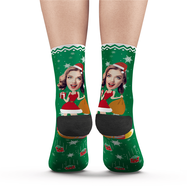 Custom Photo Socks Funny Christmas Pinup Girl - MyPhotoSocks