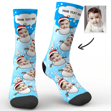 Custom Photo Socks Christmas Snowman With Your Text - MyPhotoSocks