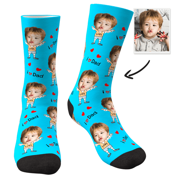 Custom Face Socks To The Dearest Dad-MyPhotoSocks