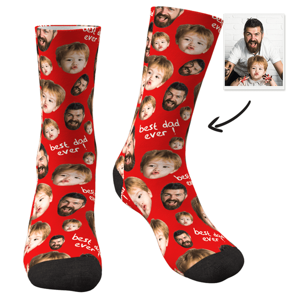 Custom Face Socks To The Best Dad-MyPhotoSocks