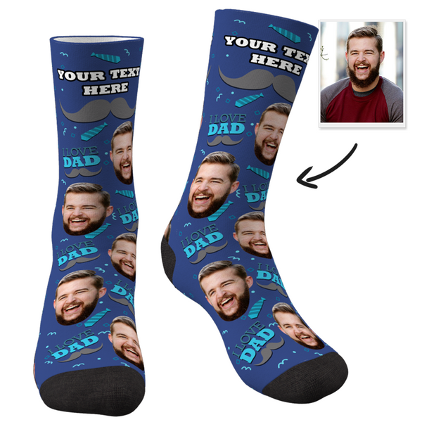 Custom I Love Dad Socks With Your Text - facesocks