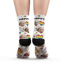 Custom Photo Pride Socks (Pride Pixel) With Your Text - MyPhotoSocks
