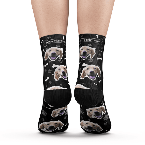 Custom Dog Socks With Your Text - Purple - MyPhotoSocks