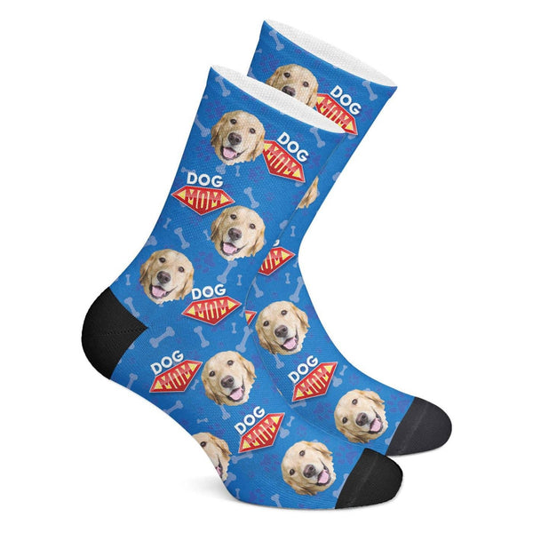 Custom Dog Mom Photo Socks With Your Text - MyPhotoSocks