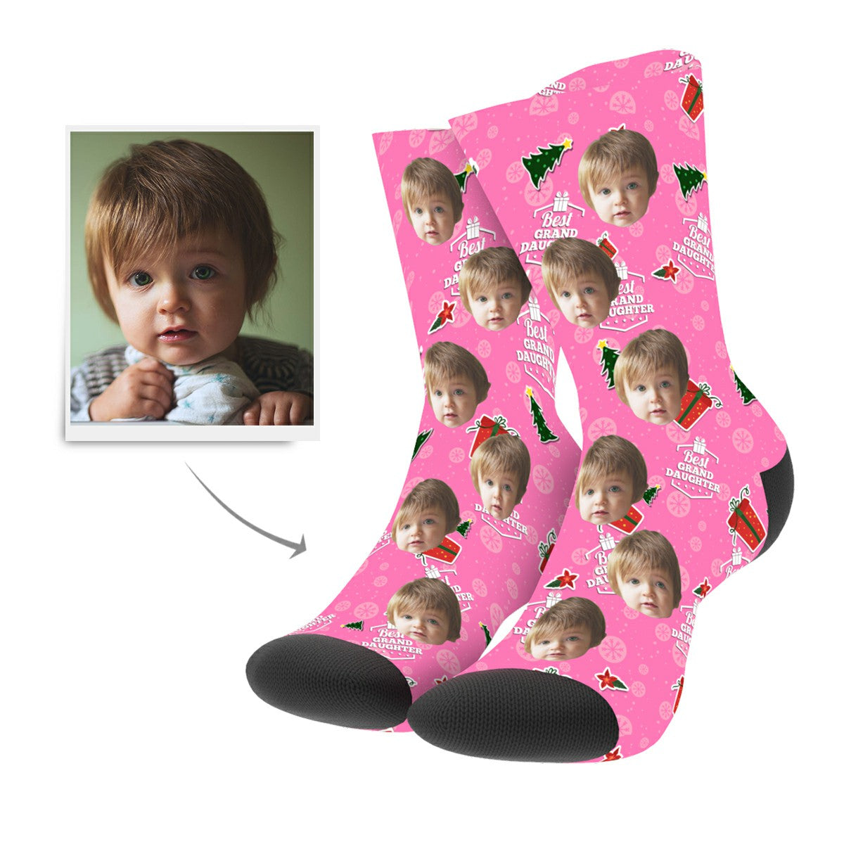 Christmas Custom Grand Daughter Socks - MyPhotoSocks