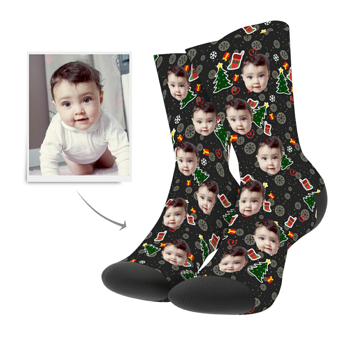 Christmas Custom Tree Hero Socks - MyPhotoSocks
