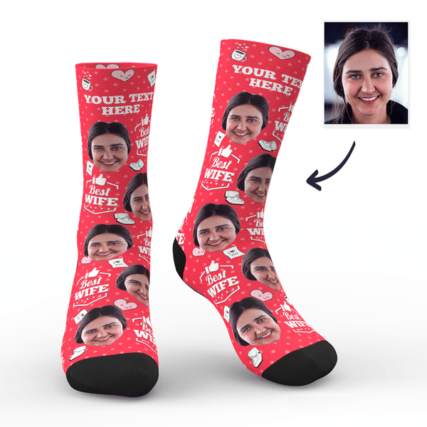 Custom Photo Socks Best Wife With Your Text - MyPhotoSocks