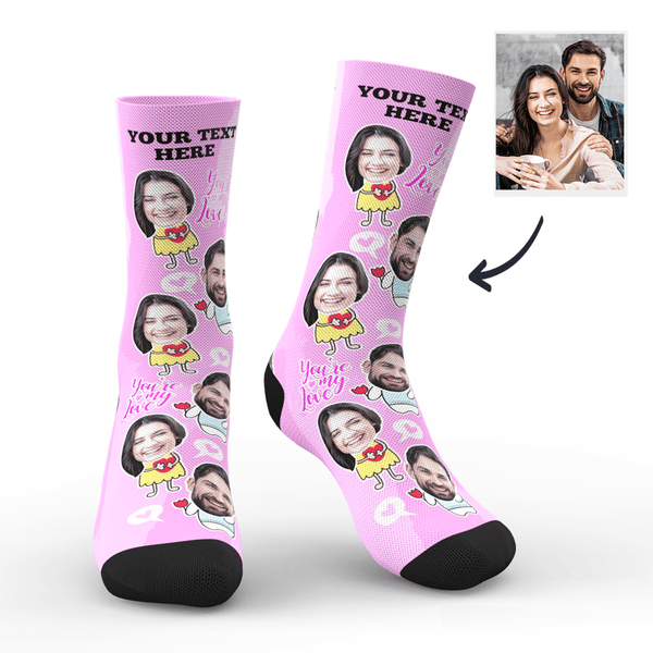 Custom Photo Socks Valentine's Day With Your Text - MyPhotoSocks