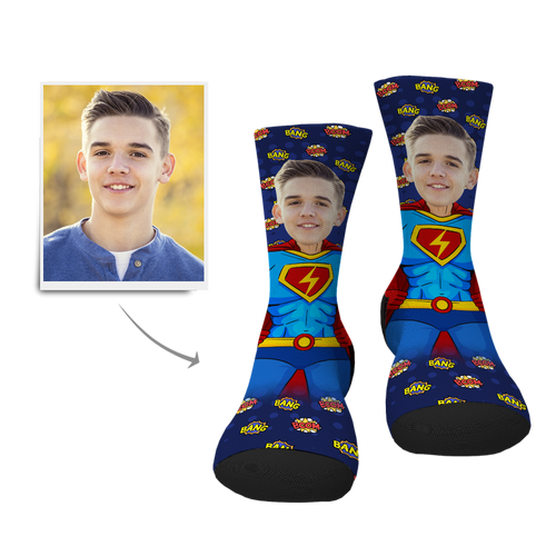 Custom Superman Face Socks - MyPhotoSocks