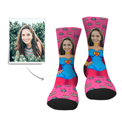 Custom Superwoman Face Socks - MyPhotoSocks