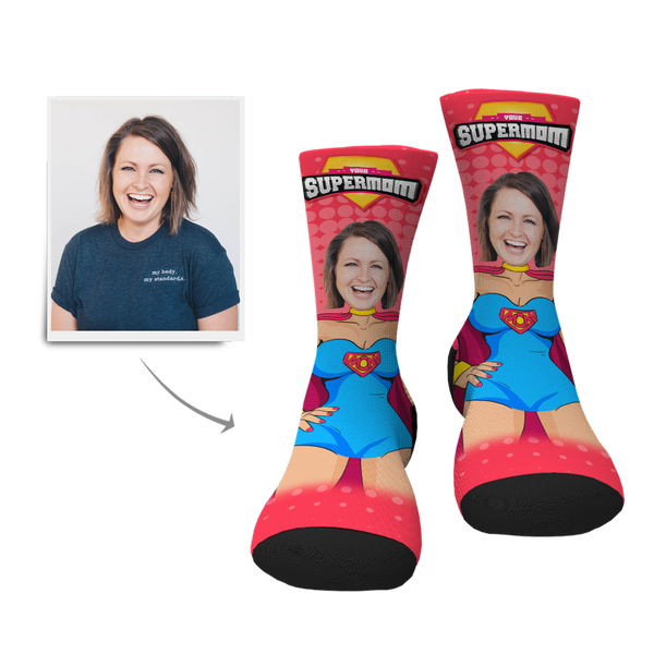 Custom Supermom Face Socks - MyPhotoSocks
