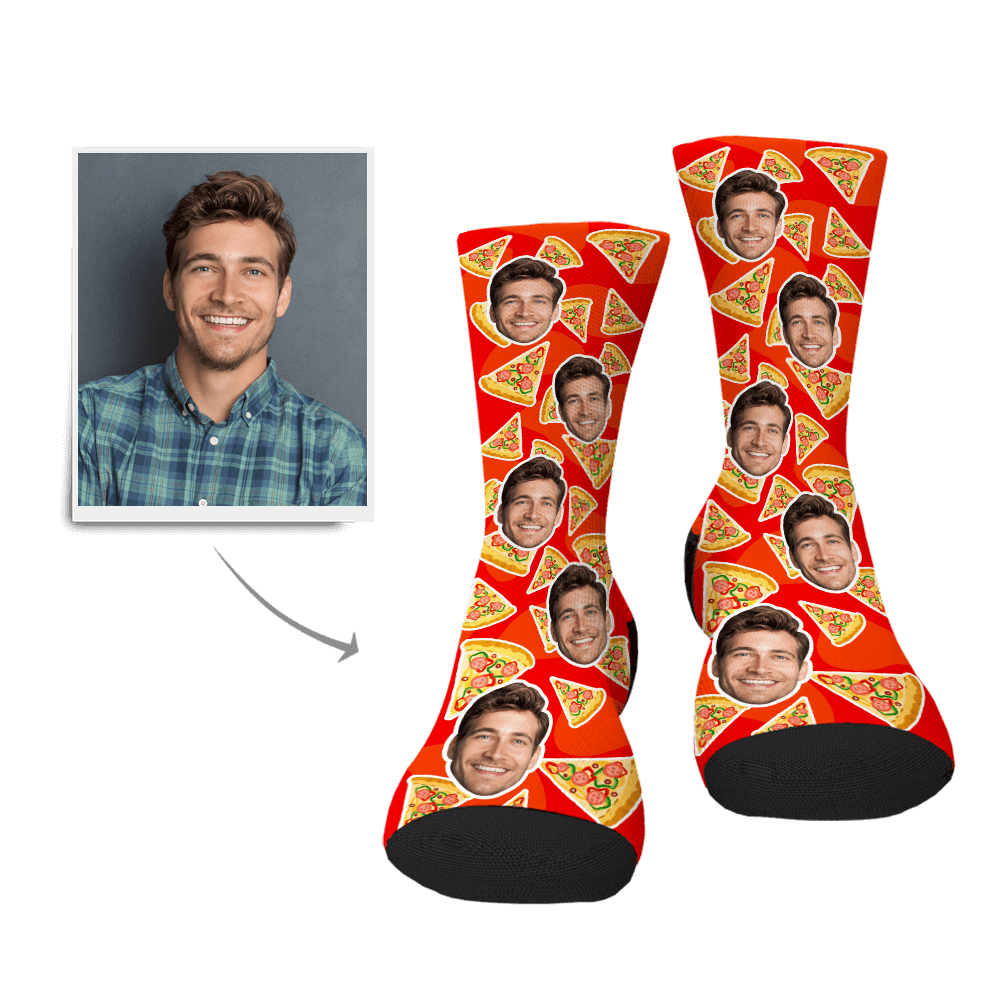 Custom Pizza Face Socks - MyPhotoSocks