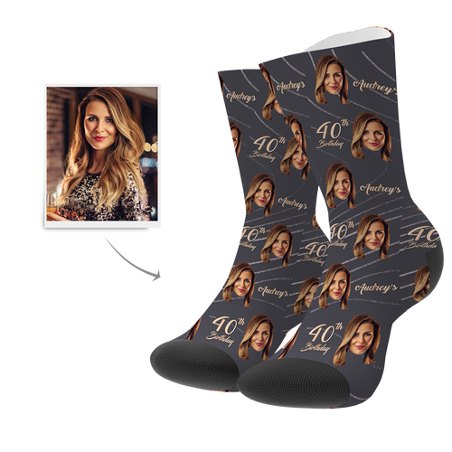 Custom Face Age Name Socks - Happy 40th Birthday - MyPhotoSocks